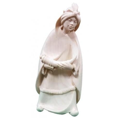 Personaggio per presepe Re Magio Moro Gaspare in legno - naturale