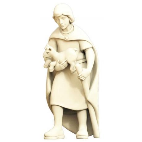 Figurina pastore con capra per presepe in legno - naturale