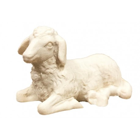 Lying Sheep carved in wood - natural