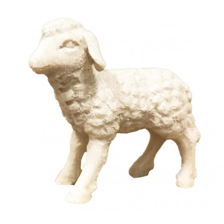 Lamb carved in wood - natural