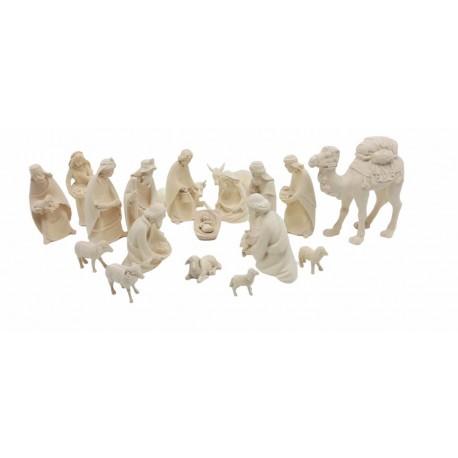 Presepe completo senza capanna con preziosa finitura, personaggi presepe scolpiti in legno, Ortisei - naturale