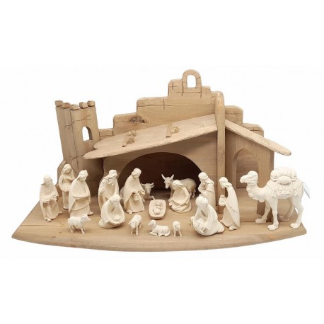 Entire Nativity Set 20 Pcs with Stable - Dolfi Miniature Nativity Set - Made in Italy - natural