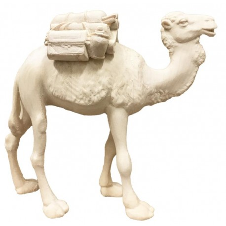 Camel with Saddle carved in wood the size of the animal is in Proportion to the size of the Figures - natural