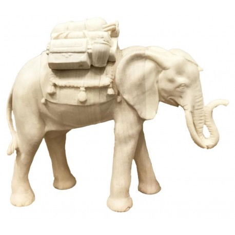 Elephant with Saddle wood carved - natural