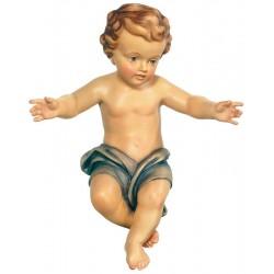 Bambino Gesù scolpito raffinatamente in legno d'acero, statuine presepe scolpite, Alto Adige - manto blu