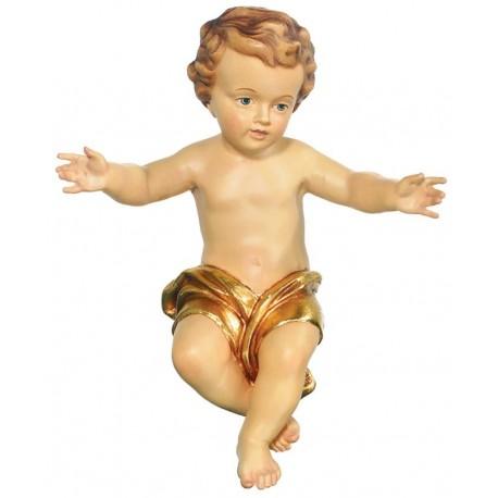 Bambino Gesù scolpito raffinatamente in legno nobile - drappo dorato