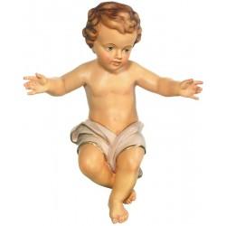 Bambino Gesù scolpito raffinatamente in legno d'acero, statuine presepe scolpite, Alto Adige - drappo bianco