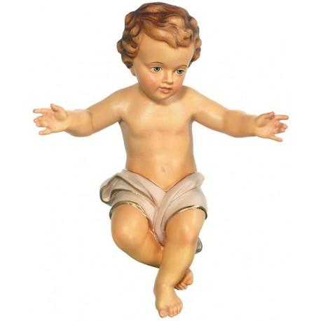 Bambino Gesù in legno - drappo bianco