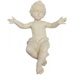 Infant of Jesus carved in wood - natural