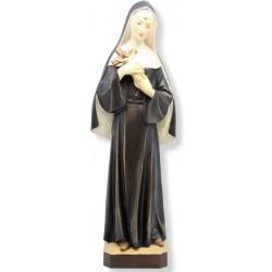 Statue der Heiligen Rita da Cascia mit Engelsgesicht, Kruzifix in den Armen, geschnitzte Holzstatue - Ölfarben lasiert