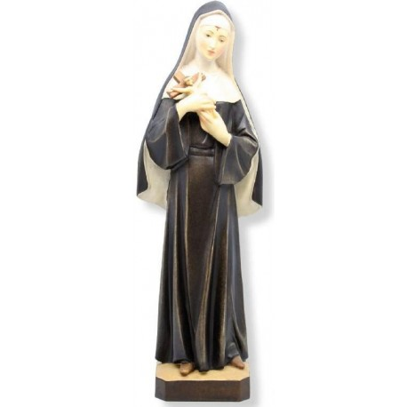Saint Rita from the town of Cascia with Angelic Face, Crucifix Held in her Arms, Wooden Statue - oil colors