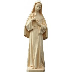 Saint Rita fron the town of Cascia with angelic face and Crucifix held in her arms, carved wooden statue - natural