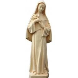 Statue der Heiligen Rita da Cascia mit Engelsgesicht und Kruzifix in den Armen, geschnitzte Holzstatue - Naturbelassen