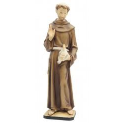 San Francesco con animali di legno - colorato a olio
