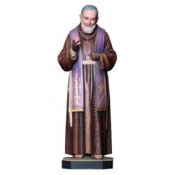 San Padre Pio con stimmate in legno - colorato a olio