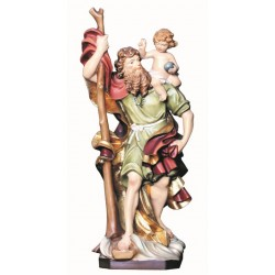 Saint Christopher carved in maple wood - Dolfi Wooden Virgin Mary Statue - Made in Italy - oil colors