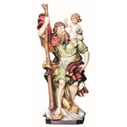 San Cristoforo scolpito finemente in legno - colorato colori pastello