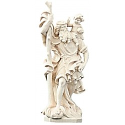 Saint Christopher carved in maple wood - Dolfi Wooden Virgin Mary Statue - Made in Italy - natural