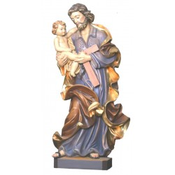 Saint Joseph with Child sculpted in baroque design - lightly colored with oil paint