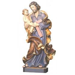 San Giuseppe col Bambino in legno - colorato a olio