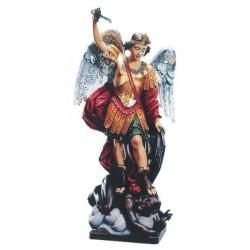 Saint Michael Archangel wood carved - color