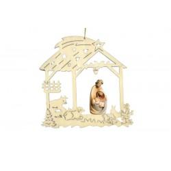 Decorazioni traforate con sacra famiglia scolpita