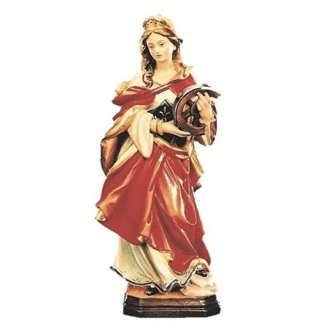 Saint Catherine od Alexandria with wheel wood Carving - color