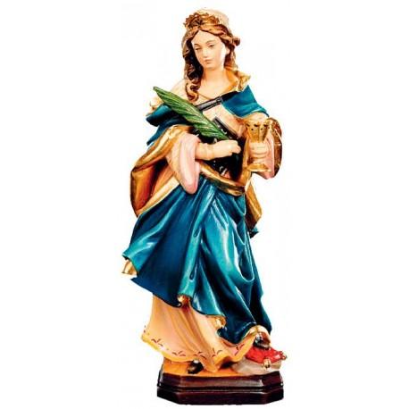 Santa Ottilia con calice e palma di legno - colorato a olio