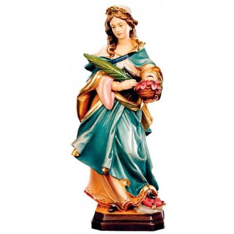 Santa Dorotea scolpita con cesta in legno - colorato a olio