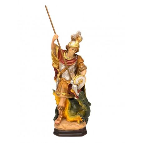 San Giorgio che sconfigge il drago in legno - colorato a olio