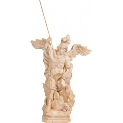 Saint George wood carved statue - natural