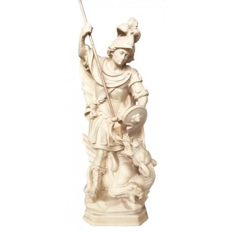 San Giorgio che sconfigge il drago in legno - naturale