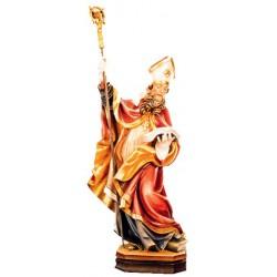 San Benedetto scolpito con libro e corvo - colorato colori pastello