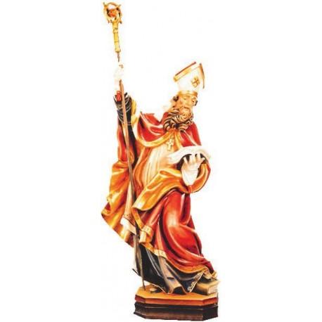 San Berwardo raffigurato con libro e calice in legno - colorato a olio