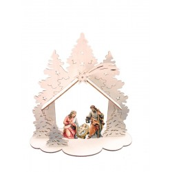 Capanna in legno traforato con sacra famiglia - colorato colori pastello
