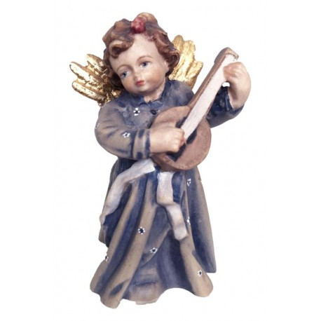 Angel with Lyre Produced and wood carved from Italian Master Carvers carved Wooden Angel Statue - oil colors