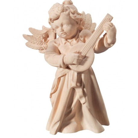 Holz Engel mit Mandoline in barockem Stil - Natur