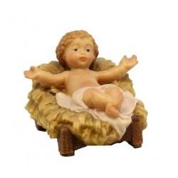 Bambino Gesù con culla di legno - colorato a olio