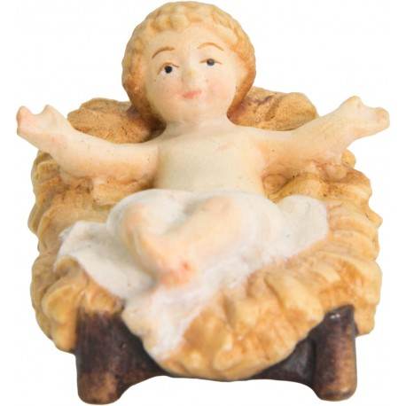 the infant Jesus with Cradle carved in maple wood  - Dolfi Hand carved Nativity Set - Made in Italy - oil colors