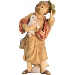 Hirte mit Schaf und Hut aus Ahornholz geschnitzt - Leicht mit Ölfarben lasiert