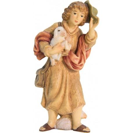 Hirte mit Schaf und Hut aus Ahornholz geschnitzt, diese Skulptur ist eine edle Grödner Schnitzerei - Ölfarben lasiert