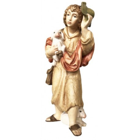 Wooden Shepherd with Sheep in arm - color