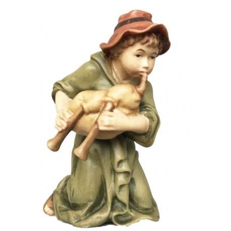 Kneeling Shepherd with Bagpipe carved in maple wood   carved Nativity Scene - Made in Italy - oil colors