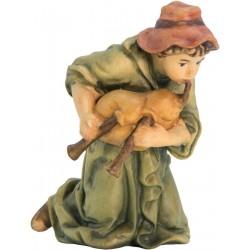 Kneeling Shepherd with bagpipe carved in maple wood