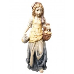 Shepherdess with basket carved in maple wood  - lightly colored with oil paint