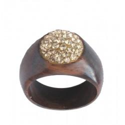 Ring Gold mit Swarovski Steine - 54 = 17mm    56 = 17,5mm    58 = 18mm    60 = 19mm; Dolfi Holzringe