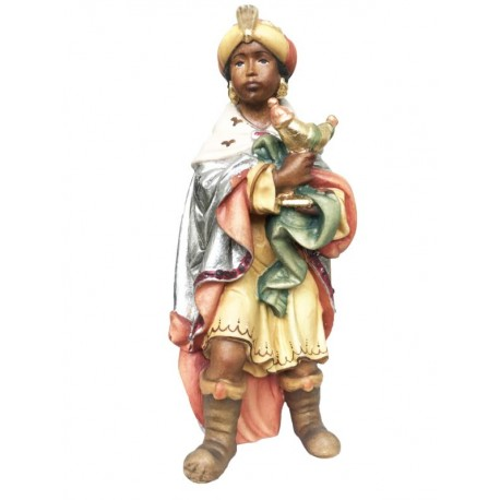 Re Magio Moro Gaspare personaggio per presepio in legno - colorato a olio