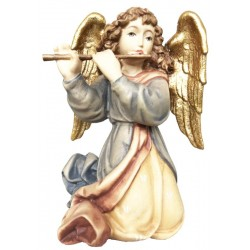 Angel with cross flute carved in maple wood  - lightly colored with oil paint