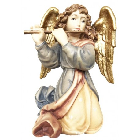Angel with Cross Flute carved in maple wood  - Dolfi Italian Nativity Scene - Made in Italy - oil colors