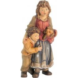 Hirtenmädchen mit Jungen aus Holz - lasiert